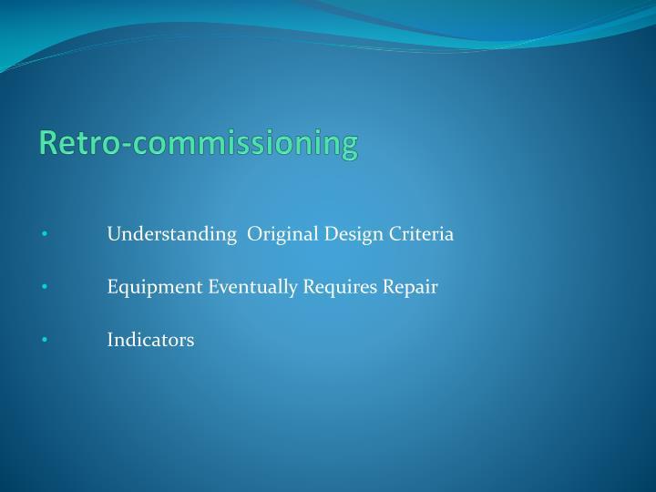 Retro-commissioning