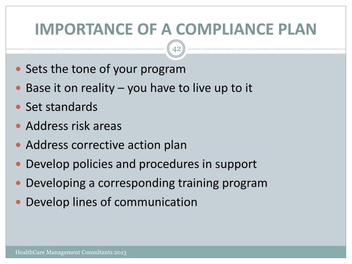 IMPORTANCE OF A COMPLIANCE PLAN