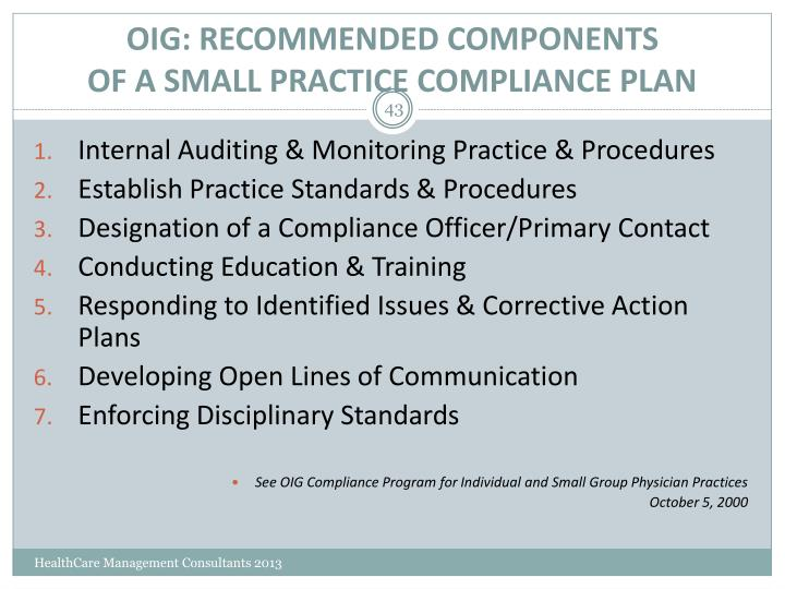 OIG: RECOMMENDED COMPONENTS
