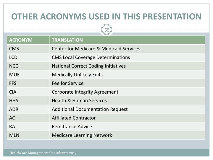 OTHER ACRONYMS USED IN THIS PRESENTATION