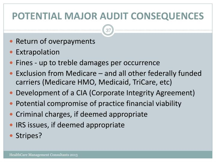 POTENTIAL MAJOR AUDIT CONSEQUENCES