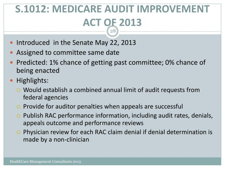 S.1012: MEDICARE AUDIT IMPROVEMENT ACT OF 2013