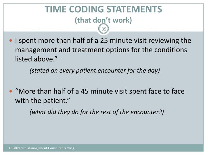 TIME CODING STATEMENTS