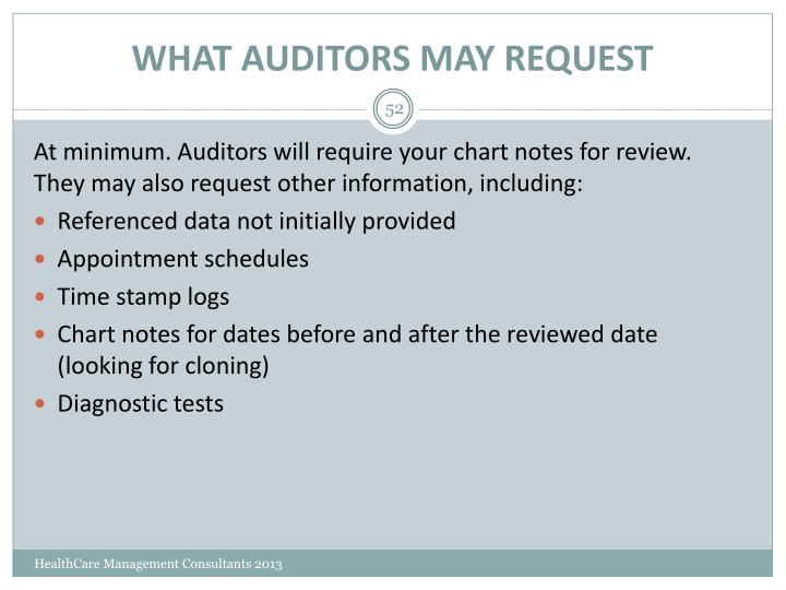 WHAT AUDITORS MAY REQUEST