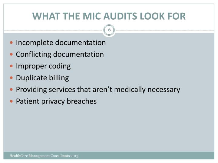 WHAT THE MIC AUDITS LOOK FOR