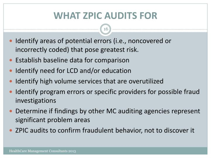 WHAT ZPIC AUDITS FOR