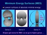 minimum energy surfaces mes