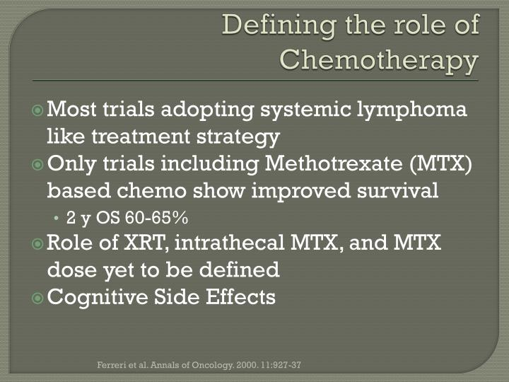 Defining the role of Chemotherapy