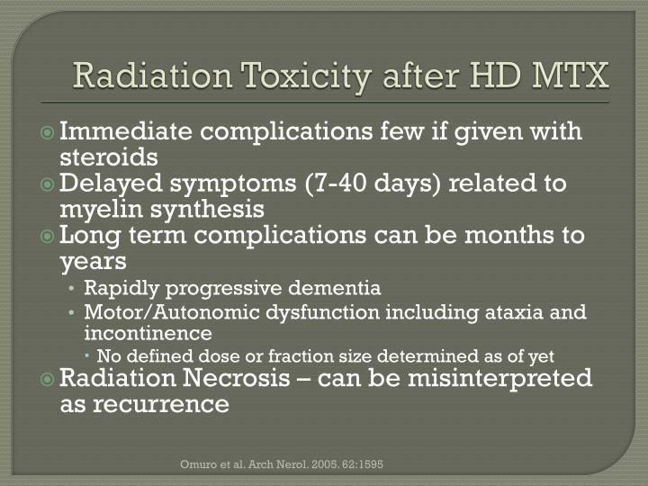 Radiation Toxicity after HD MTX