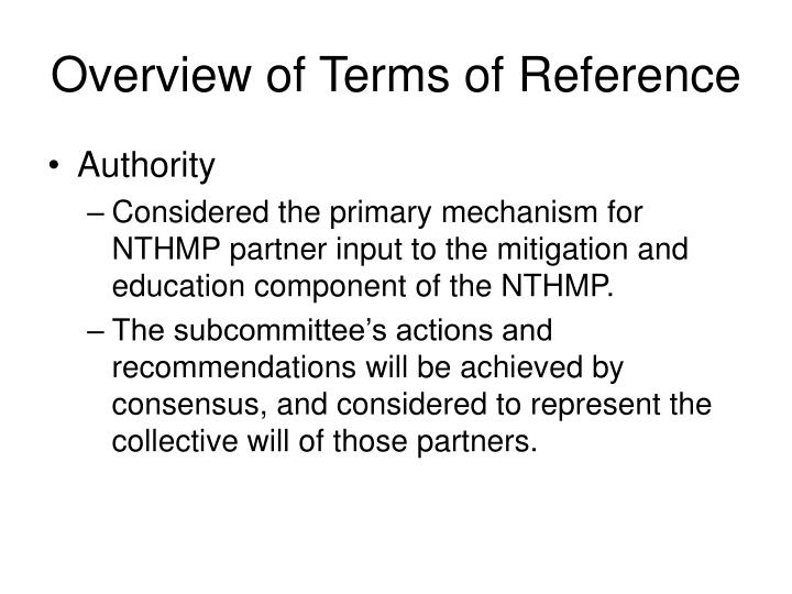 Overview of terms of reference