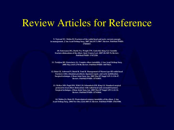 Review Articles for Reference