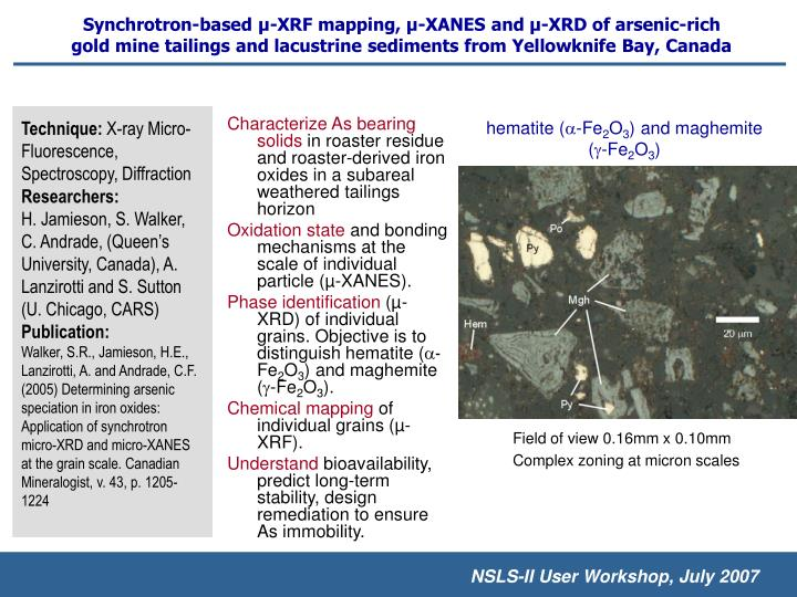 Synchrotron-based µ-XRF mapping, µ-XANES and µ-XRD of arsenic-rich gold mine tailings and lacustrine sediments from Yellowknife Bay, Canada
