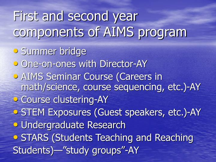 First and second year components of AIMS program