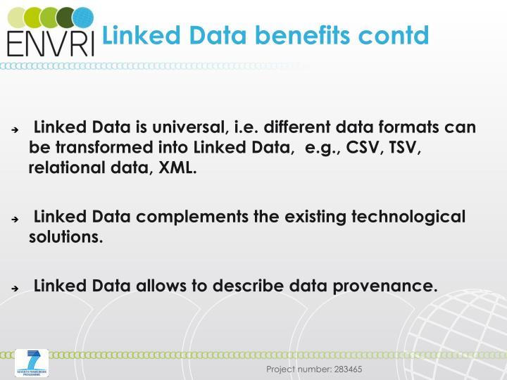 Linked Data benefits contd