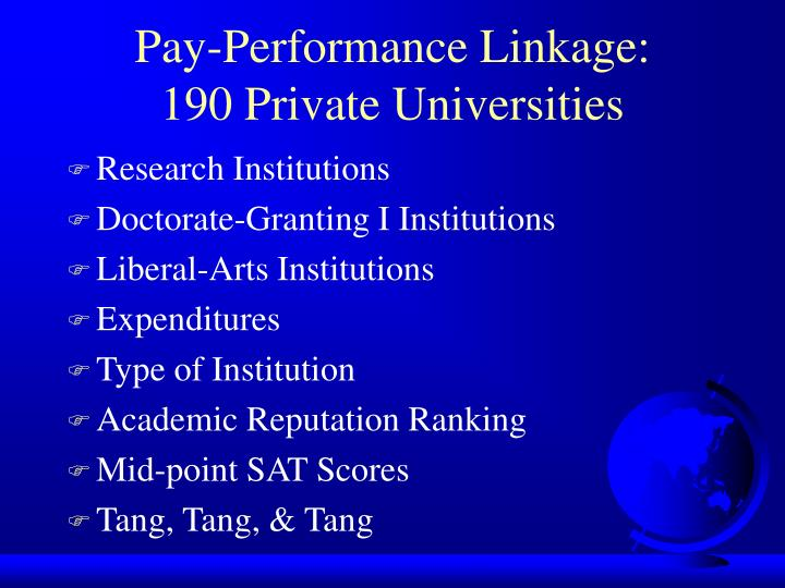 Pay-Performance Linkage: