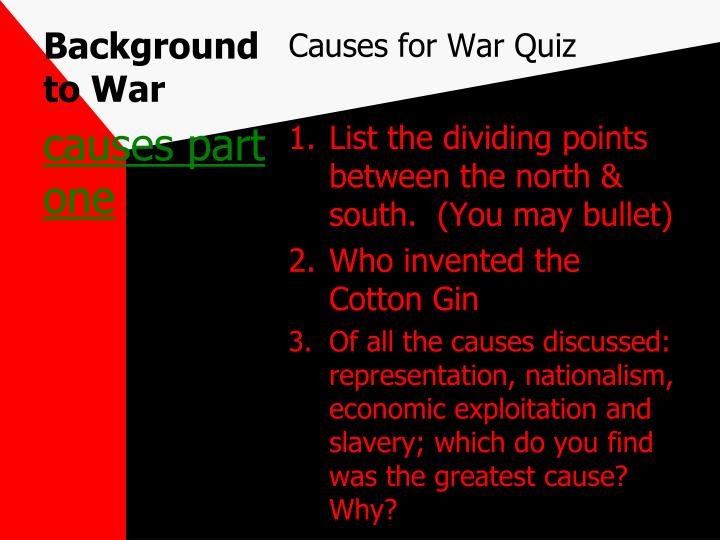 Background to War