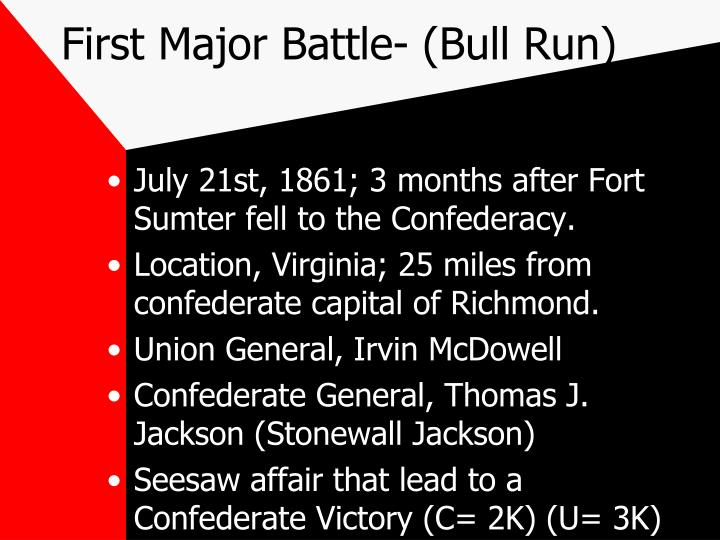 First Major Battle- (Bull Run)
