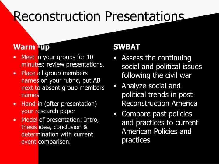 Reconstruction Presentations