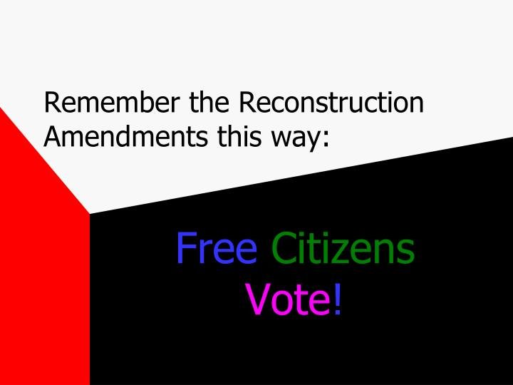Remember the Reconstruction Amendments this way: