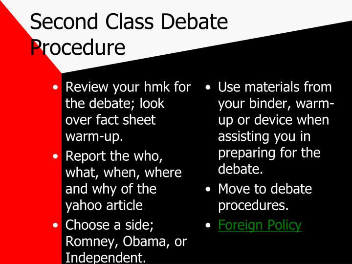 Second Class Debate Procedure
