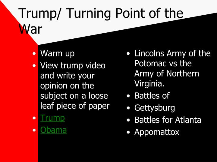 Trump/ Turning Point of the War