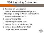 mdp learning outcomes