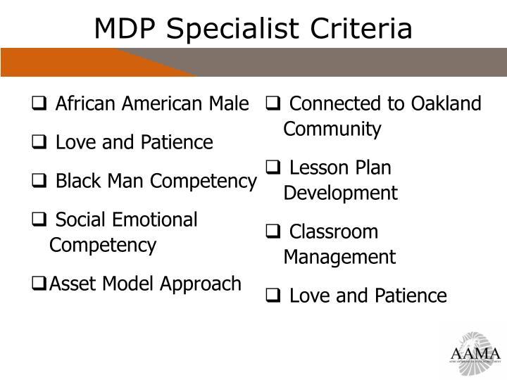 MDP Specialist Criteria