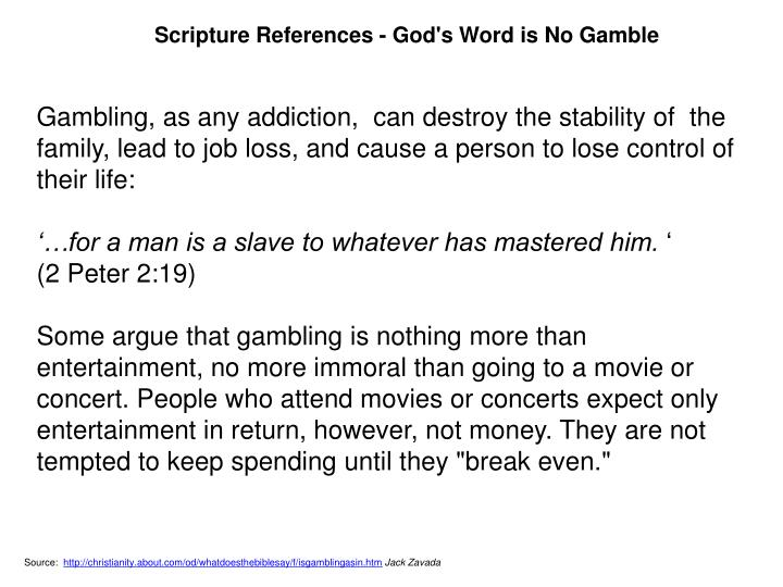 Scripture References - God's Word is No Gamble