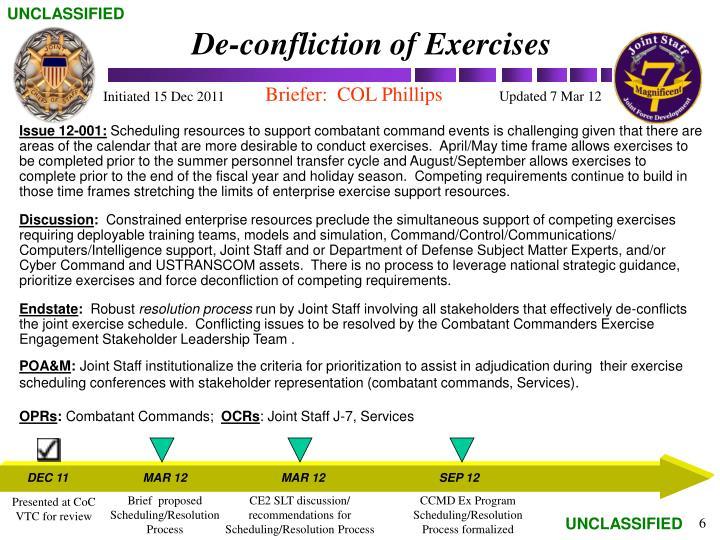 De-confliction of Exercises