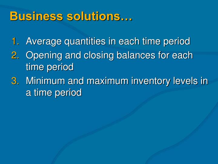 Business solutions…