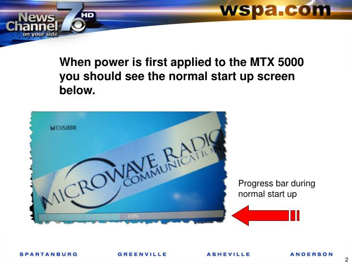 When power is first applied to the MTX 5000 you should see the normal start up screen below.