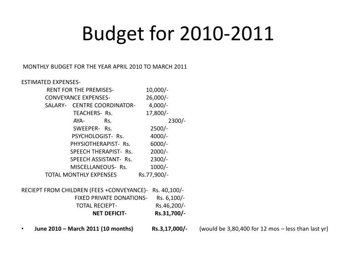 Budget for 2010-2011