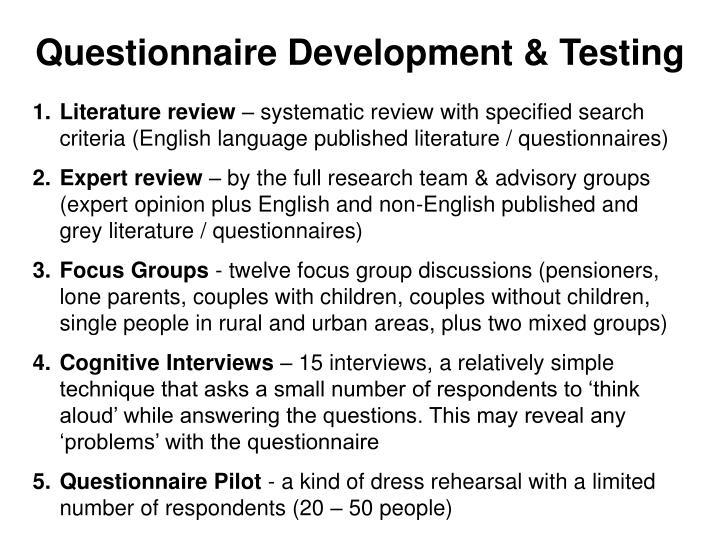 Questionnaire Development & Testing