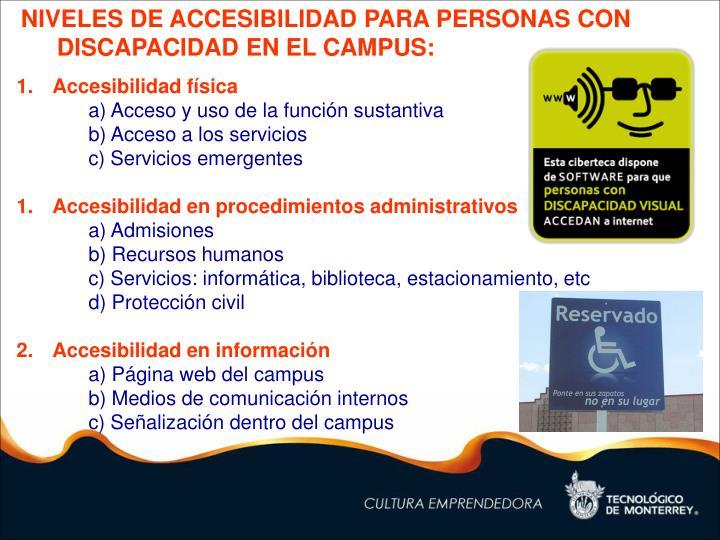 NIVELES DE ACCESIBILIDAD PARA PERSONAS CON DISCAPACIDAD EN EL CAMPUS: