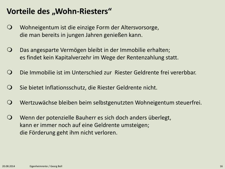 """Vorteile des """"Wohn-Riesters"""""""