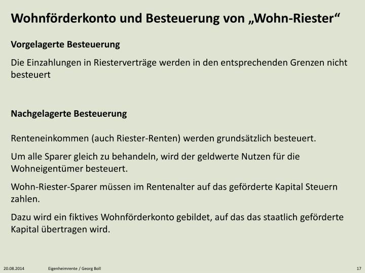 """Wohnförderkonto und Besteuerung von """"Wohn-Riester"""""""