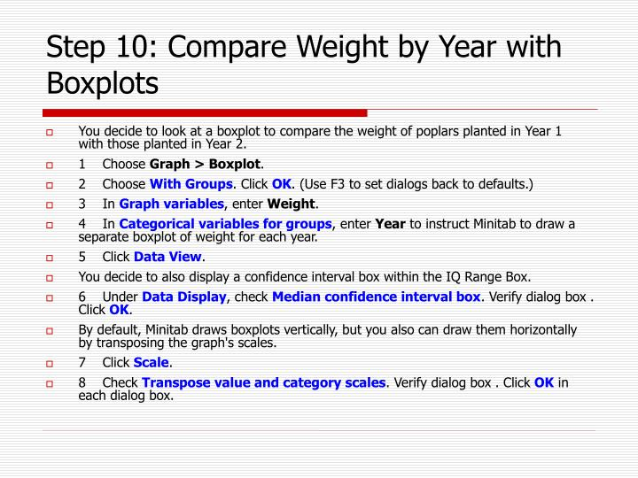 Step 10: Compare Weight by Year with Boxplots