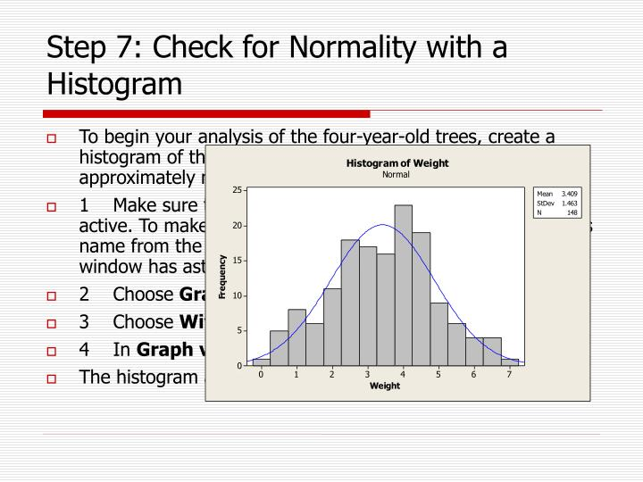 Step 7: Check for Normality with a Histogram