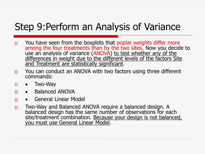Step 9:Perform an Analysis of Variance
