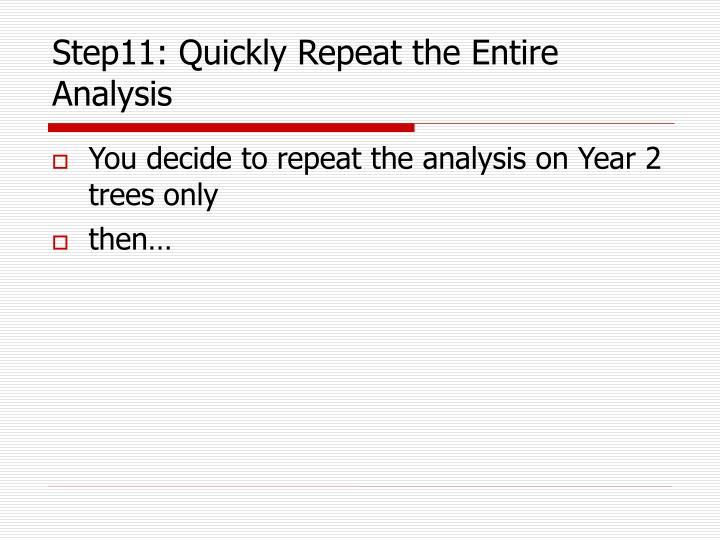 Step11: Quickly Repeat the Entire Analysis