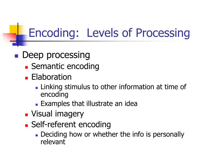 Encoding:  Levels of Processing