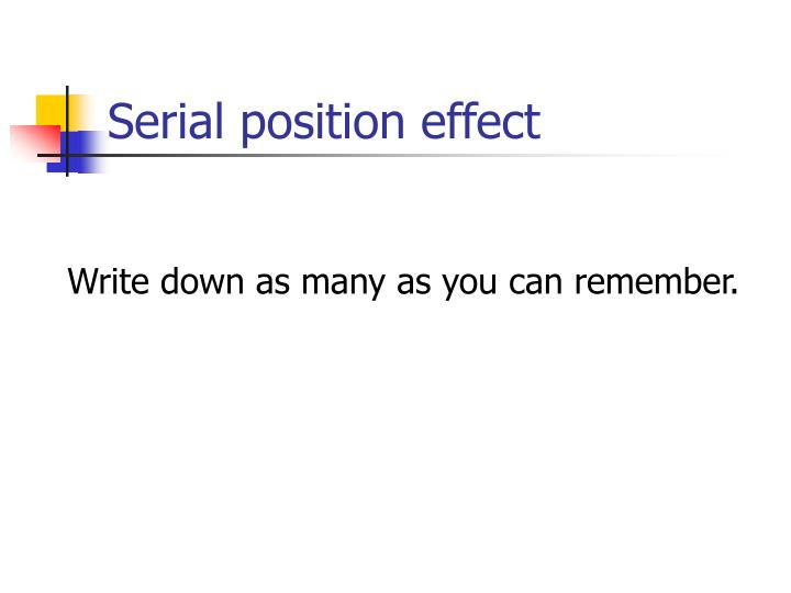 Serial position effect