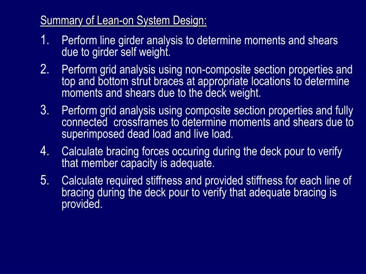 Summary of Lean-on System Design: