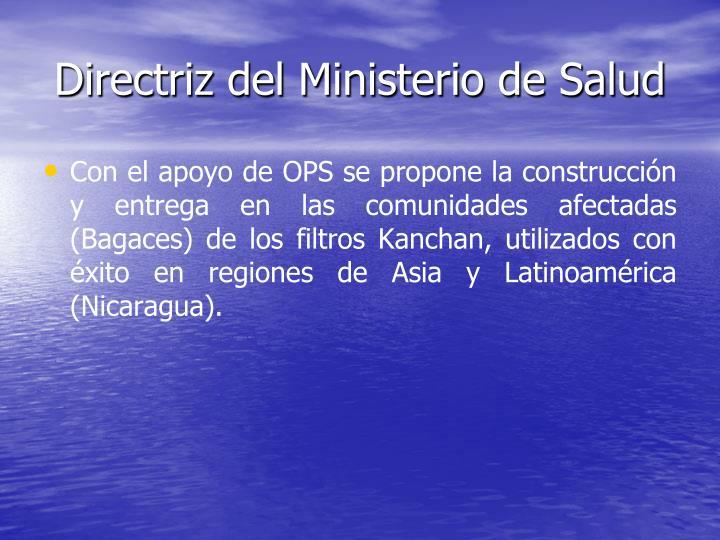 Directriz del Ministerio de Salud