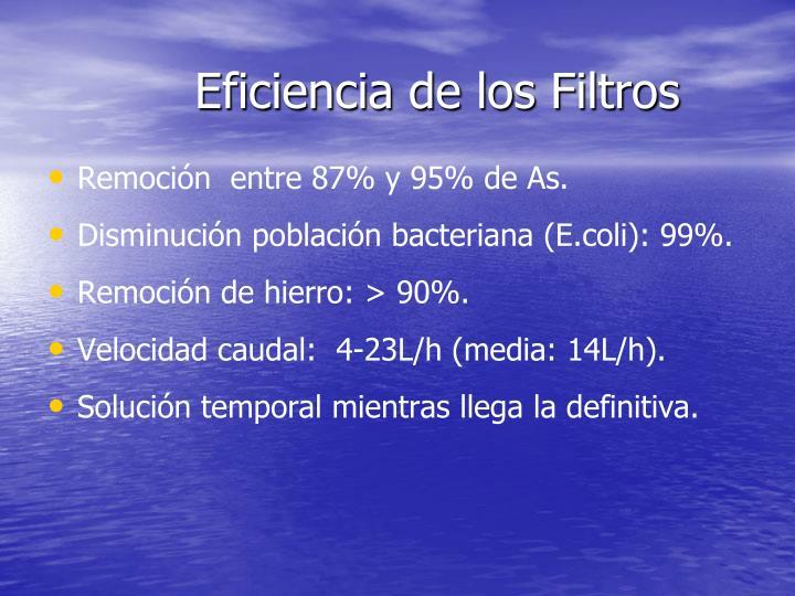 Eficiencia de los Filtros