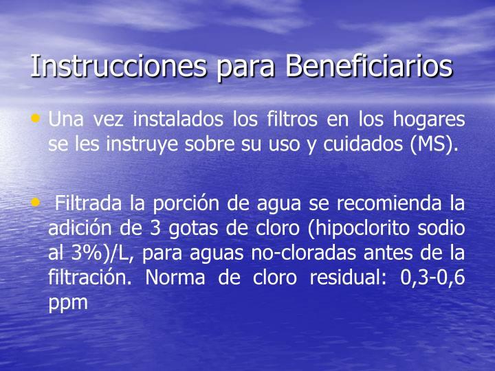 Instrucciones para Beneficiarios
