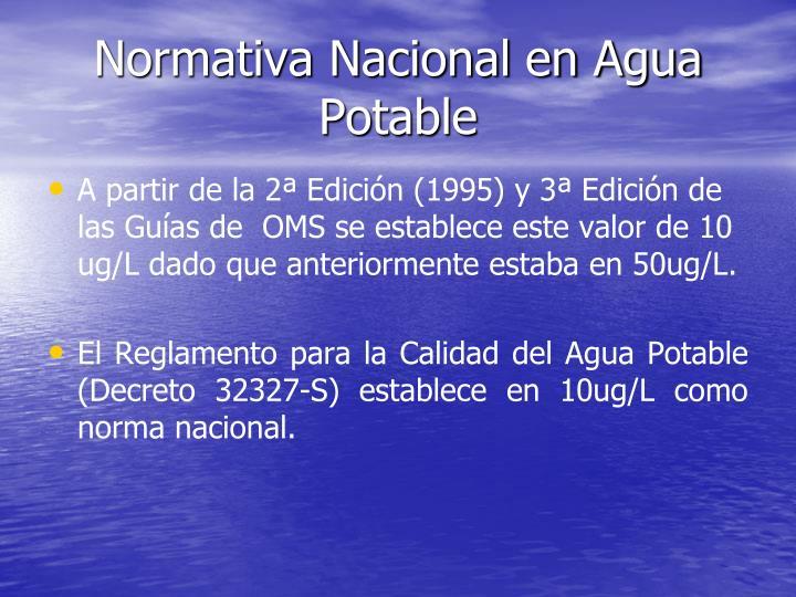Normativa Nacional en Agua Potable