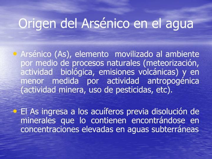 Origen del Arsénico en el agua