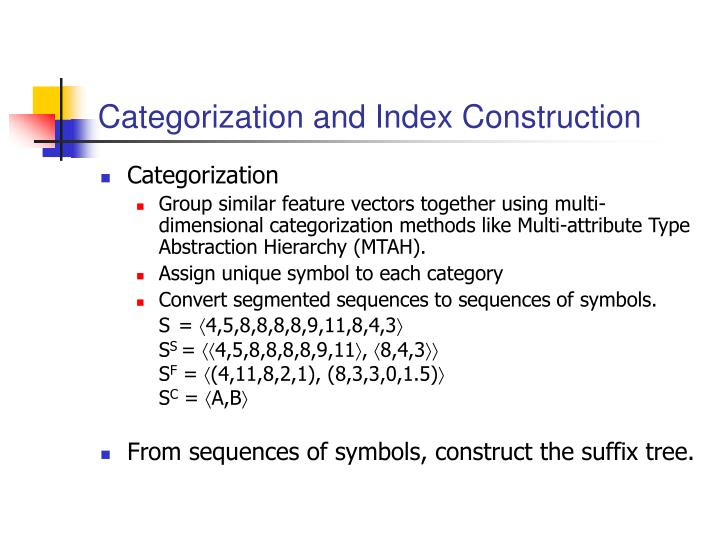 Categorization and Index Construction