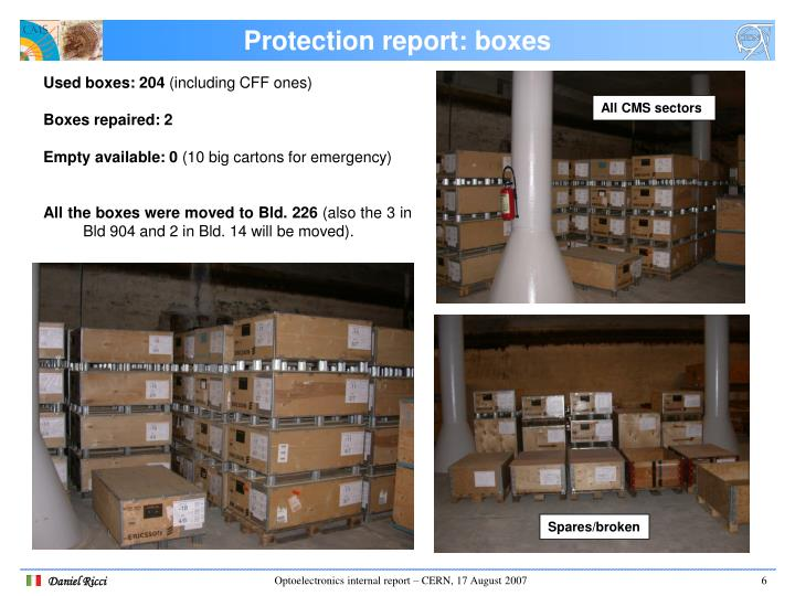 Protection report: boxes